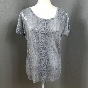 Michael Kors Snakeskin T Shirt SS Sequins Top